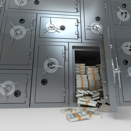 bank vault: 3D rendering of a wall of bank safes one of them open and full of dollars Stock Photo