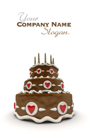 impressive:  3D rendering of  a impressive chocolate three floor cake with red hearts and candles  Stock Photo