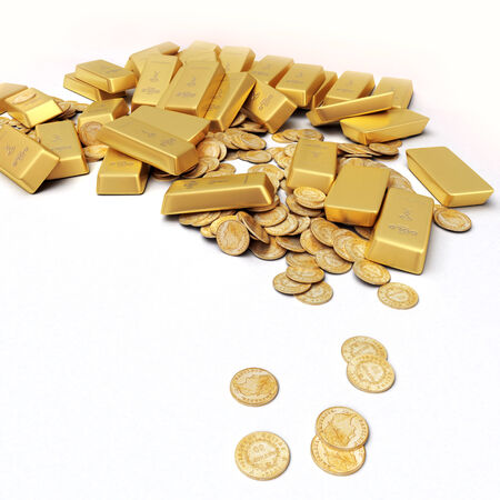 A fortune in gold ingots and coins photo
