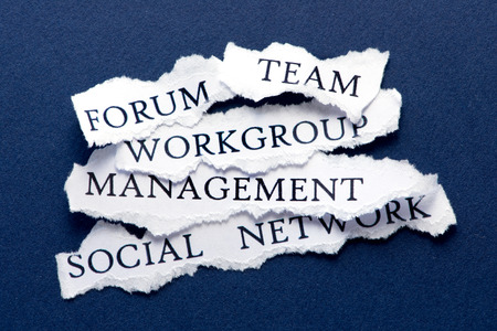 workgroup: Roughly cut slips of paper with business interaction concepts such us forum, team, workgroup, management, and social network