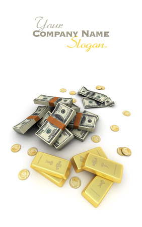 A fortune in dollar notes, ingots and gold coins photo