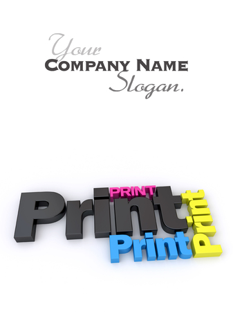 blanc:  3D rendering of the word print in different colors and sizes
