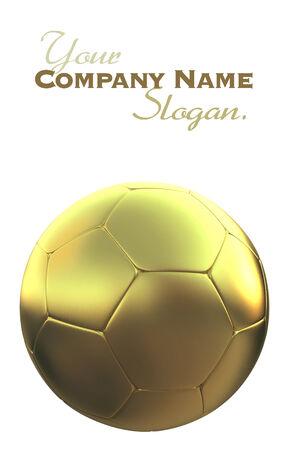 kickball: Golden soccer ball against a white background