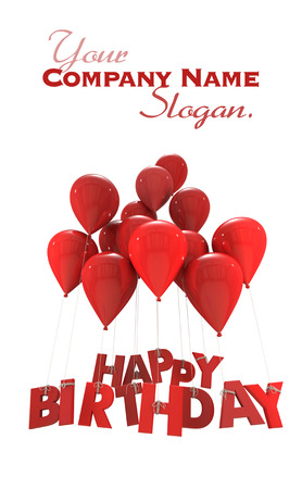 latex:  3D rendering of a group of balloons with the words happy birthday hanging from the strings in red shades