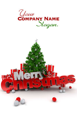 3D rendering of a Christmas décor, with the words Merry Christmas Stock Photo - 26723746