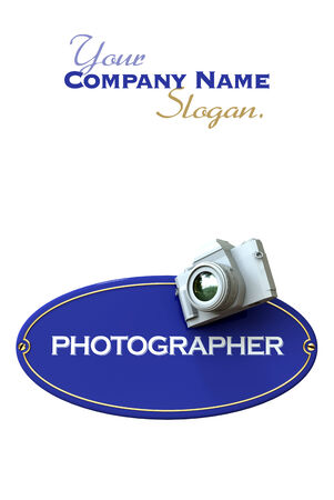 plate camera:  3D rendering of a blue plaque with the word photographer and a camera