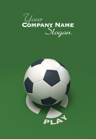 kickball: Soccer ball against a green background with the play symbol