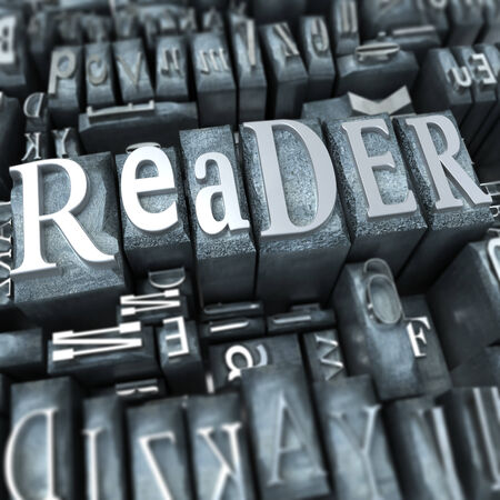typescript: The word reader written in typescript metal letters