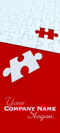 missing puzzle piece:  3D rendering of a puzzle in red and white