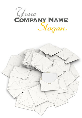 3D rendering of an open envelope and a blank, card on top of a stack of scattered correspondence