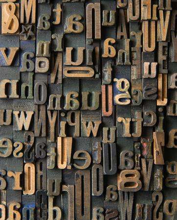 formed: Background formed with vintage wooden letter cases