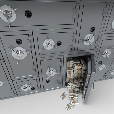 3D rendering of a wall of bank safes one of them open and full of dollars photo