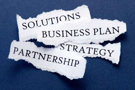 roughly: Roughly cut slips of paper with business  concepts such us solutions, business plan, strategy, partnership Stock Photo