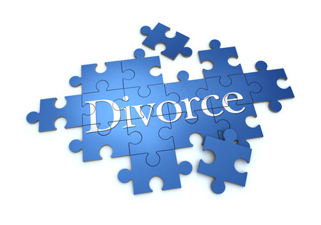 3D rendering of a puzzle with the word divorce photo
