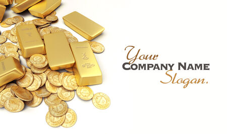 ingots: A fortune in gold ingots and coins with lots of copy Stock Photo