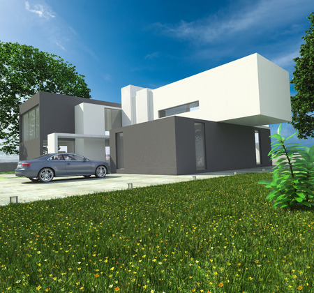 opulence: 3D rendering of a brandless luxurious car parked by a magnificent modern house