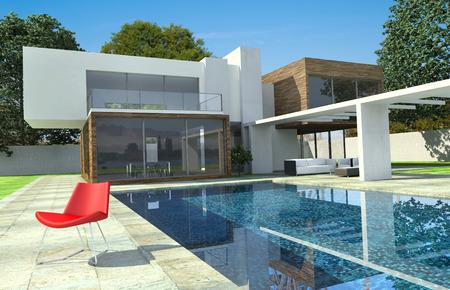 nadar: Representaci�n 3D de una casa de lujo moderno con piscina