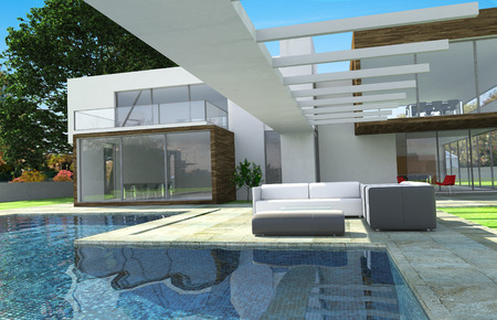 3D rendering of a modern luxurious house with swimming pool photo