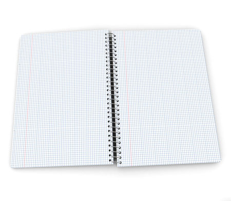 An open checkered notebook with blank pages photo