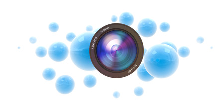 Blue spheres and a camera lens photo