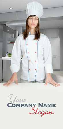 countertop:   Young girl with a chef uniform in an industrial kitchen  Stock Photo