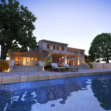 庭園、日没でプール付きの美しい家