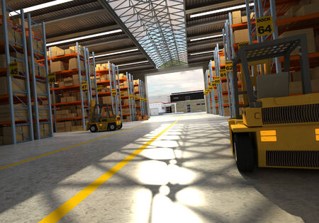 loading dock: 3D rendering of a distribution warehouse Stock Photo