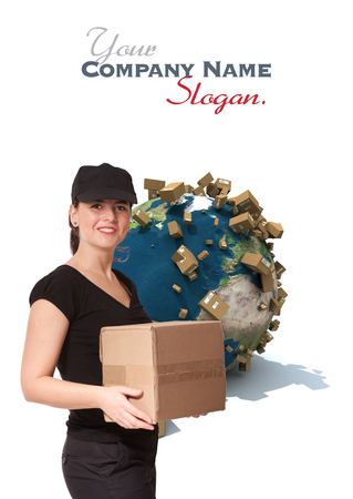 Female messenger holding a package with a world map and cardboard boxes as a background