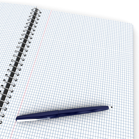 Open checkered notebook with a blue pen photo