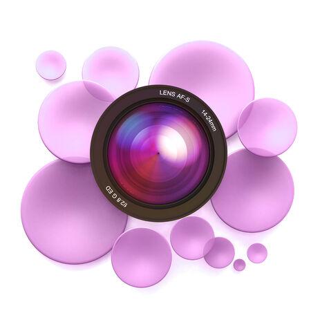 Pink disks and a camera lens Stock Photo - 27045301