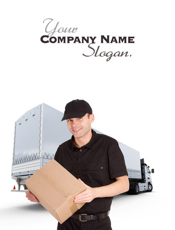 removal van:   Isolated image of a messenger delivering a lot of boxes with a trailer truck in the background  Stock Photo