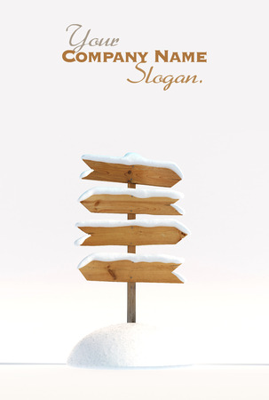 Snow covered wooden directional sign photo
