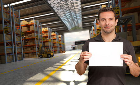 inserting: A man holding a blank paper in a distribution warehouse, ideal for inserting your own message
