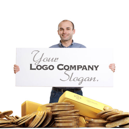 Man holding a sign over a pile of gold photo