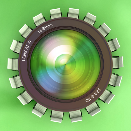 3D rendering of a camera lens surrounded by chairs looking like a meeting table Stock Photo - 27102875