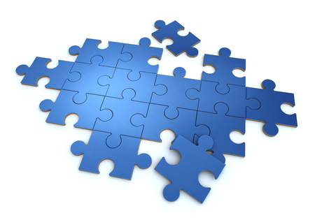 3D rendering of a blue puzzle in a white background