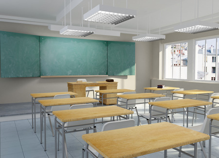 3D rendering of an empty classroom Stock Photo