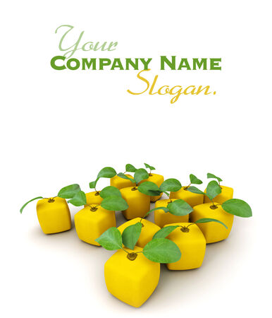 manipulated : alter: 3D rendering of a group of cubic lemons Stock Photo