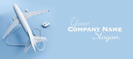 fiestas electronicas: Representación 3D de un avión que vuela conectado a un ratón
