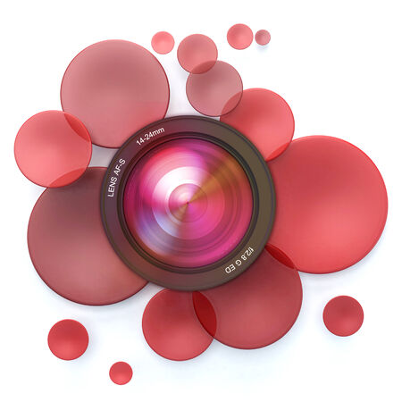 red disks and a camera lens Stock Photo - 27103183