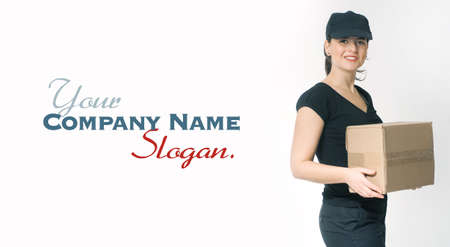 Portrait of a delivery girl in black carrying a parcel Stock Photo - 27103245