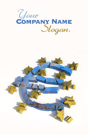 3D rendering of a blue marble euro symbol with golden stars lying broken against a white background photo