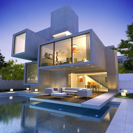 exteriores: Vista exterior de una casa contemporánea con piscina al atardecer