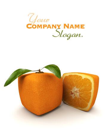 estrange: 3D rendering of a cubic orange fruit and a half Stock Photo