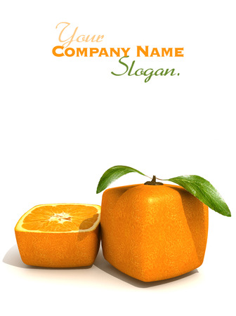 Representación 3D de una fruta de color naranja cúbicos y medio de