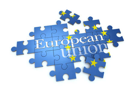 institutions: 3D rendering of a puzzle with the words European Union Stock Photo