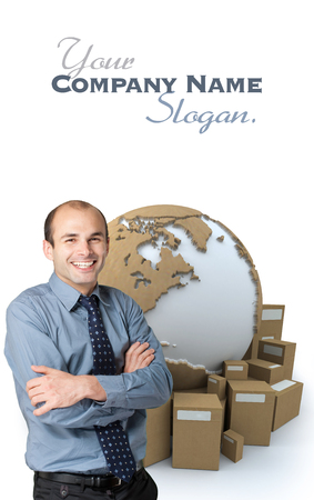 Happy businessman with a world map and  packages on the background  photo
