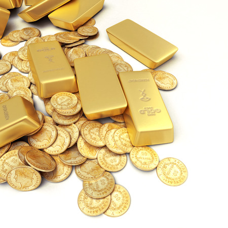 gold bar: A fortune in gold ingots and coins Stock Photo