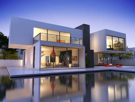 case moderne: Veduta esterna di una casa contemporanea con piscina al tramonto
