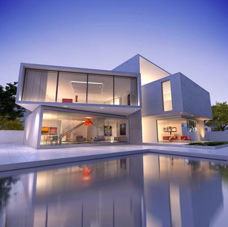 Veduta esterna di una casa contemporanea con piscina al tramonto Archivio Fotografico - 27281386
